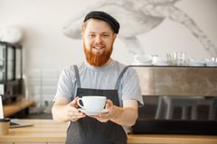 Conceito do proprietário empresarial do café - retrato do barista caucasiano farpado novo feliz no avental com lookin seguro fotos de stock royalty free