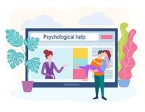 Conceito do psicólogo da família, ajuda em situações difíceis ilustração royalty free