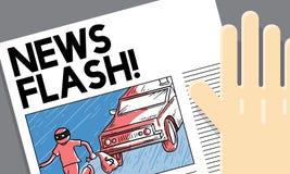 Conceito do relatório de notícias de última hora do anúncio do flash noticioso Imagem de Stock