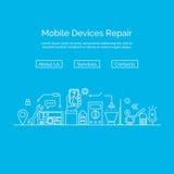 Conceito do reparo do telefone celular no estilo linear moderno Imagem de Stock Royalty Free
