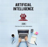 Conceito do robô da máquina da automatização da inteligência artificial Fotos de Stock