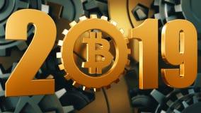 conceito 2019 do símbolo do bitcoin Ouro e ilustração de prata do fundo da roda de engrenagem fotos de stock royalty free