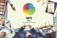 Conceito do símbolo do emblema da cor de CMYK fotos de stock