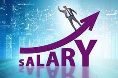 Conceito do salário crescente com homem de negócios imagens de stock