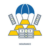 Conceito do seguro de depósito Ilustração lisa do vetor Foto de Stock Royalty Free