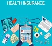 Conceito do seguro de saúde ilustração do vetor