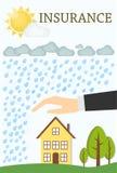 Conceito do seguro Ilustração lisa mínima do vetor Casa com árvores, tempestade, chuva e o Sun Imagens de Stock Royalty Free