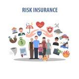 Conceito do seguro liso Fotografia de Stock Royalty Free