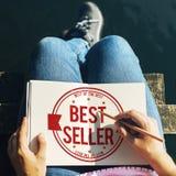 Conceito do selo do certificado do melhor vendedor imagens de stock royalty free