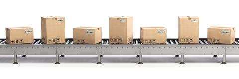 Conceito do serviço do comércio eletrônico, da entrega e de empacotamento Cartão BO Imagem de Stock Royalty Free