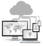 Conceito do serviço da nuvem Imagens de Stock Royalty Free