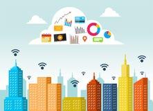 Conceito do serviço da nuvem Tecnologia informática da nuvem Internet da nuvem das coisas com apps ilustração royalty free
