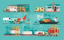 Conceito do serviço de entrega Carga do navio de carga do recipiente, carregador do caminhão, armazém, plano, trem ilustração royalty free