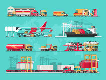 Conceito do serviço de entrega Carga do navio de carga do recipiente, carregador do caminhão, armazém, plano, trem Ilustração lis ilustração stock