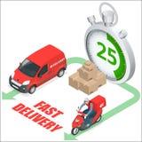Conceito do serviço de entrega de Isomertic Caminhão de entrega rápido, motobike rápido da entrega, cronômetro Vetor 3d isométric Foto de Stock Royalty Free