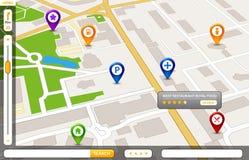 Conceito do serviço de GPS do mapa da cidade da perspectiva projeto do mapa da cidade 3d Imagens de Stock Royalty Free