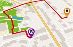 Conceito do serviço de GPS do mapa da cidade da perspectiva projeto do molde da rota do mapa da cidade 3d Imagem de Stock Royalty Free