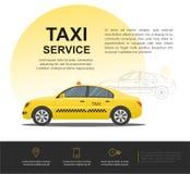 Conceito do serviço do táxi Vector o molde do fundo da bandeira, do cartaz ou do inseto Foto de Stock