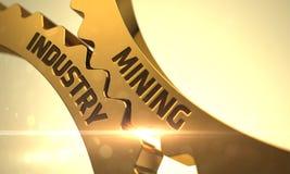 Conceito do setor mineiro Engrenagens douradas da roda denteada 3d Foto de Stock Royalty Free