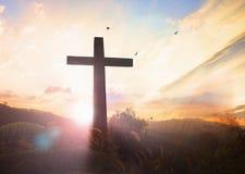 Conceito do Sexta-feira Santa: ilustração da crucificação de Jesus Christ no Sexta-feira Santa fotografia de stock royalty free