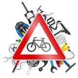 Conceito do sinal de estrada da bicicleta Fotografia de Stock Royalty Free