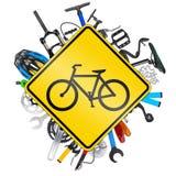 Conceito do sinal de estrada da bicicleta Imagem de Stock