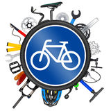 Conceito do sinal de estrada da bicicleta Fotos de Stock Royalty Free