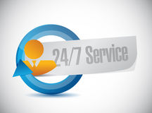 24-7 conceito do sinal dos povos do serviço Fotografia de Stock Royalty Free