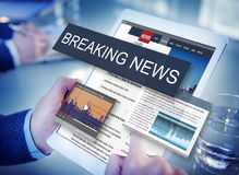 Conceito do Social do anúncio dos meios de notícias de última hora fotos de stock