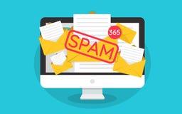 Conceito do Spamming, muitos email na tela de um monitor Caixa que corta, aviso do email do Spam Ilustração Imagens de Stock Royalty Free