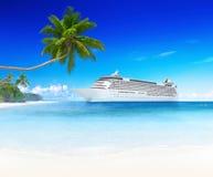 conceito do Spectacular dos destinos da praia da ilha do cruzeiro 3D Imagens de Stock Royalty Free