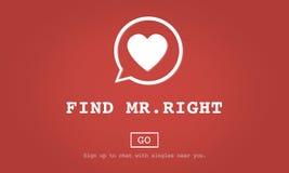 Conceito do Sr. Right One Valentine Romance Love Heart Dating do achado fotos de stock