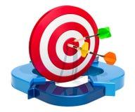 Conceito do sucesso comercial, alvo com setas azuis rendição 3d Fotos de Stock Royalty Free