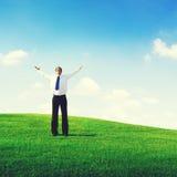 Conceito do sucesso de Solitude Relaxation Freedom do homem de negócios imagem de stock royalty free