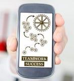 Conceito do sucesso dos trabalhos de equipa em um smartphone Fotos de Stock