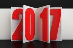 Conceito do sumário do ano 2017 novo, rendição 3D ilustração do vetor