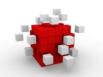 Conceito do sumário do negócio dos trabalhos de equipa com cubos vermelhos. Fotografia de Stock Royalty Free