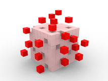 Conceito do sumário do negócio dos trabalhos de equipa com cubos vermelhos Fotografia de Stock