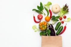 Conceito do supermercado do alimento do vegetariano da compra, vista superior imagens de stock royalty free