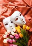 Conceito do teatro - máscaras brancas Fotografia de Stock