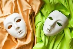 Conceito do teatro - máscaras brancas Imagem de Stock
