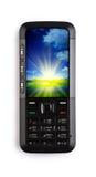 Conceito do telefone móvel e do lago no nascer do sol Imagens de Stock Royalty Free
