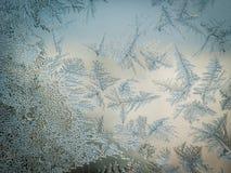 Conceito do tema do mundo de fantasia da estação do inverno: Imagem macro de testes padrões claros coloridos de Frosty Window Gla foto de stock