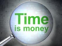 Conceito do tempo: Tempo é dinheiro com vidro ótico Imagem de Stock Royalty Free