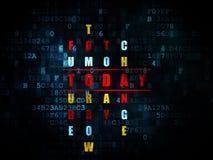 Conceito do tempo: palavra hoje em resolver palavras cruzadas Fotografia de Stock