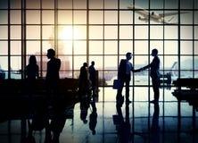 Conceito do terminal de aeroporto da viagem de negócios do aeroporto internacional imagem de stock