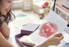 Conceito do texto da forma do estilo da beleza Fotos de Stock Royalty Free