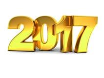 Conceito do texto do ouro 3D do ano novo feliz 2017 sobre o fundo branco com reflexão e sombra Imagem de Stock Royalty Free