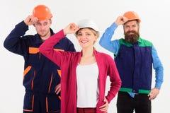 Conceito do trabalho da equipe Construtor, coordenador, trabalhador, reparador como a equipe amigável imagens de stock