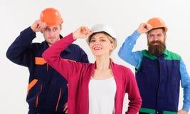 Conceito do trabalho da equipe Construtor, coordenador, trabalhador, reparador como a equipe amigável fotografia de stock royalty free